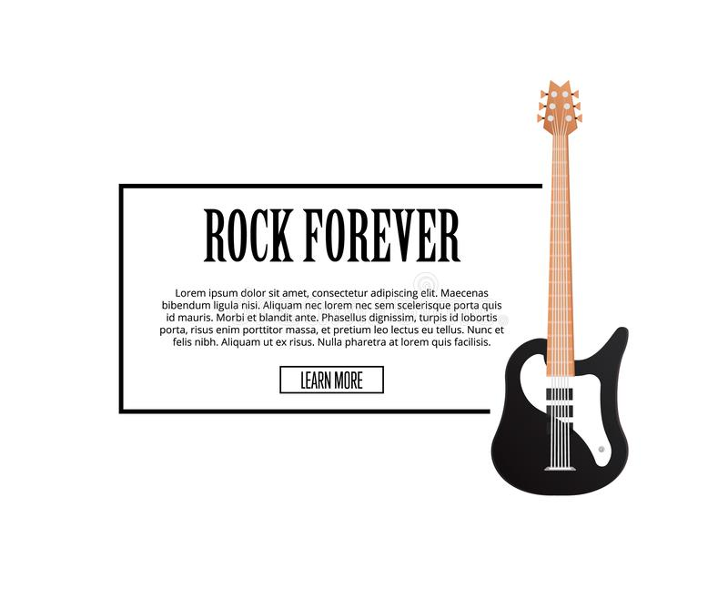 Let`s Rock Poster With Crossed Electric Guitars Stock