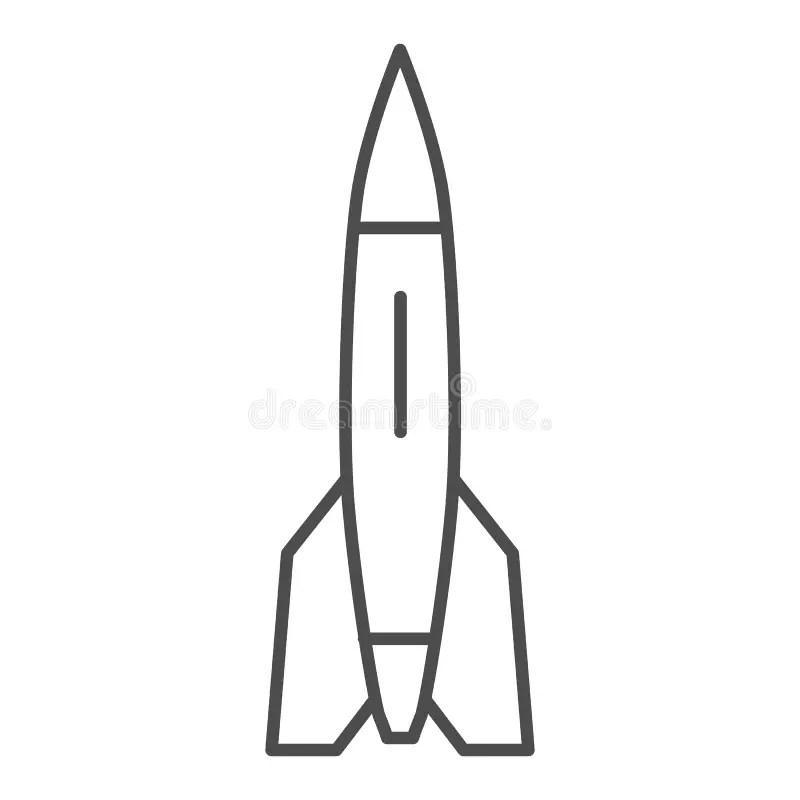 Rocket Thin Line Icon, Transport Symbol, Space Ship Vector