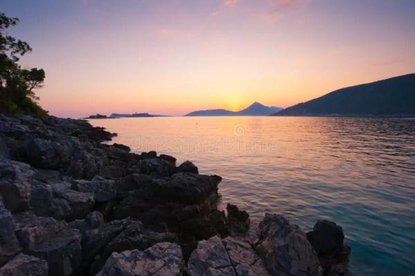 rocky beach landscape sunset