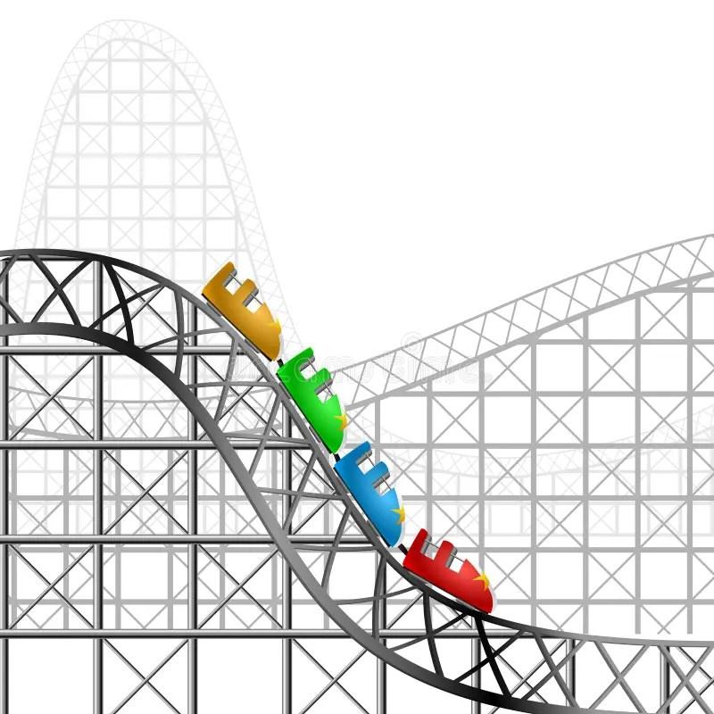Roller coaster stock vector. Illustration of children