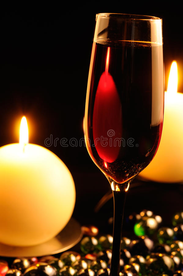 Valentine Day Special 3d Wallpaper Romantic Dinner Glass Of Red Wine And Candles Stock