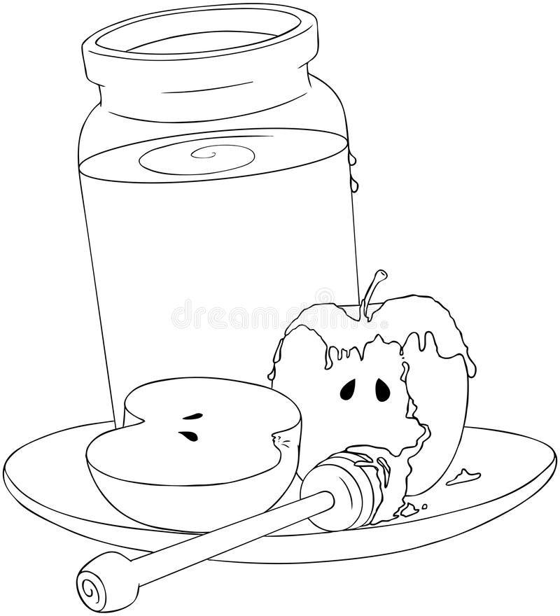 Rosh Hashanah Honey Jar And Apples Coloring Page Stock