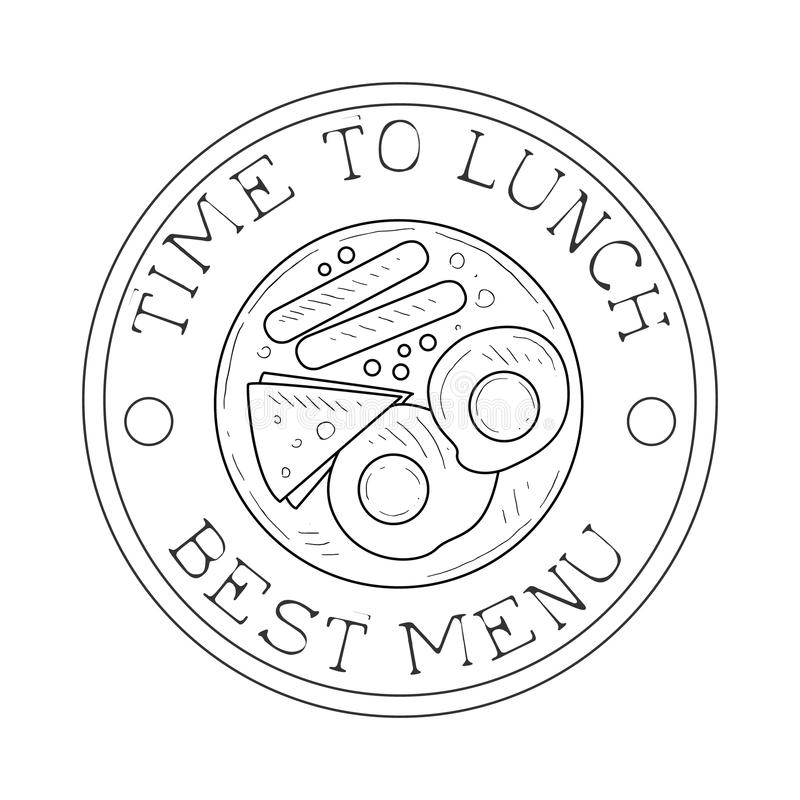 Round Frame Cafe Lunch Menu Promo Sign In Sketch Style