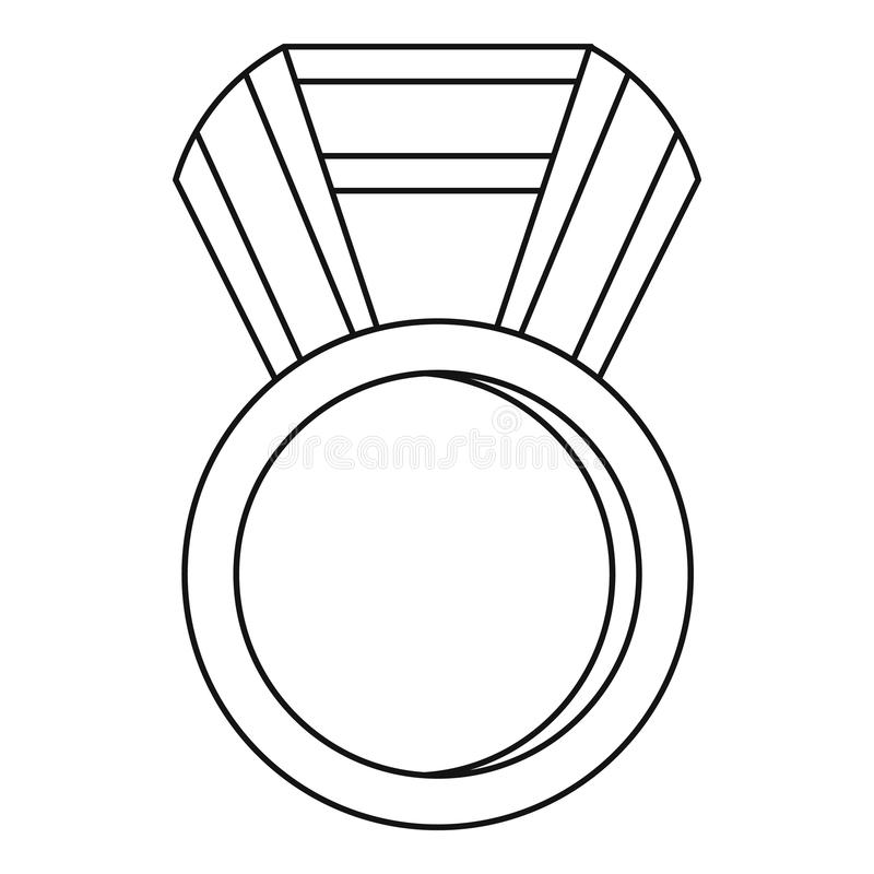 Round Medal Icon, Outline Style Stock Vector