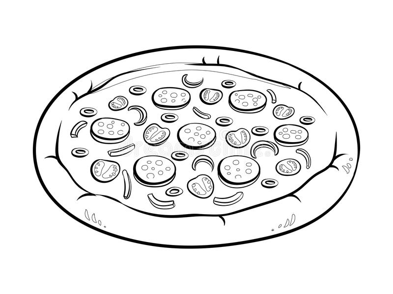 Round Pizza Coloring Book Vector Illustration Stock Vector