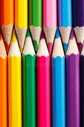 vertical pencil pencils row close