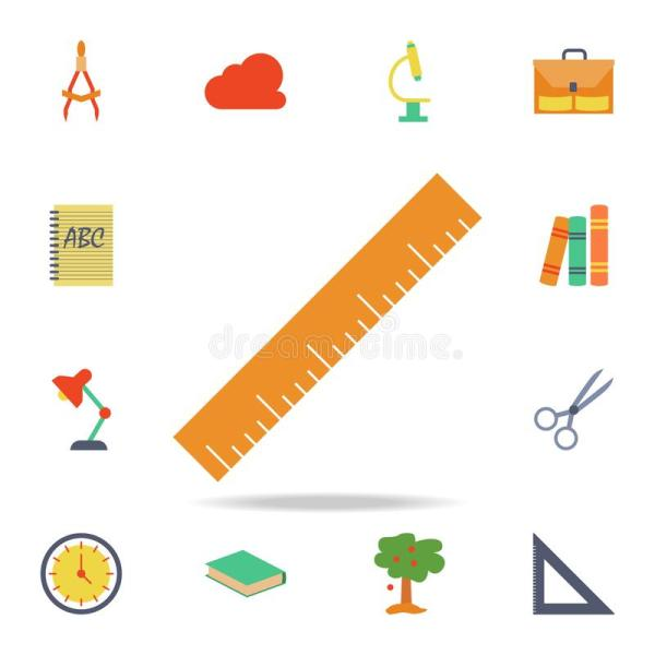 Colored Ruler And Pencil Icon. Detailed Set Of