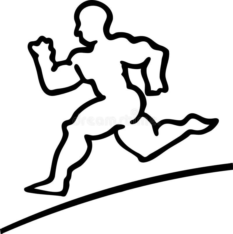 Runner Man Black And White Athlete Stock Vector