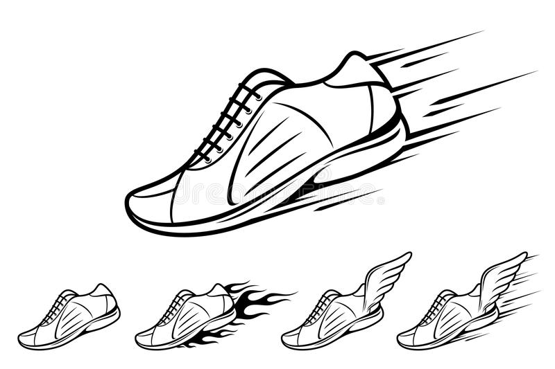 Running Shoe Icons, Sports Shoe With Motion And Fire