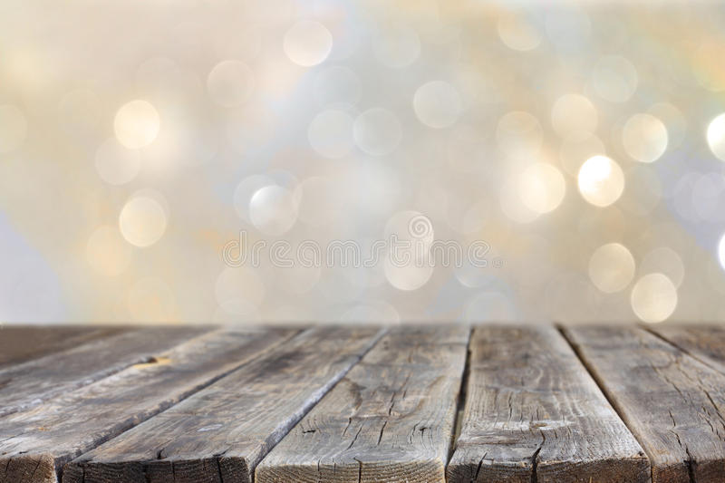Free Country Fall Wallpaper Rustic Wood Table In Front Of Glitter Silver And Gold