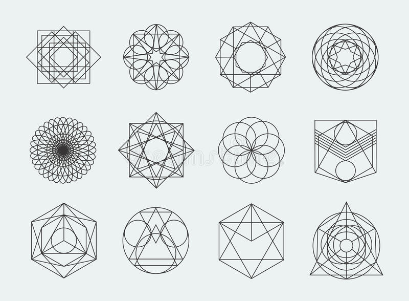 Sacred Geometry Symbols Collection. Set Of Hipster