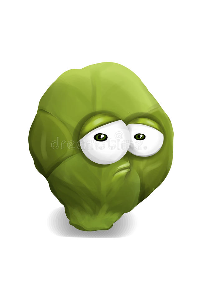 Sad Green Brussels Sprouts Cartoon, A Depressed