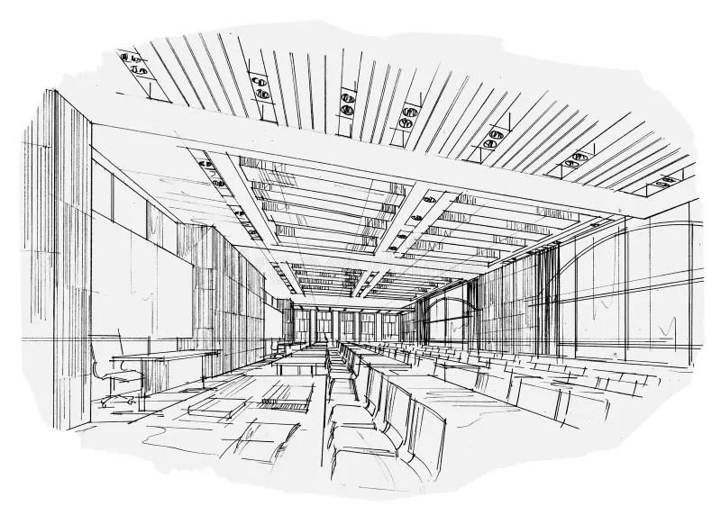 Sala De Aula Interior Da Perspectiva Do Esboço, Design De