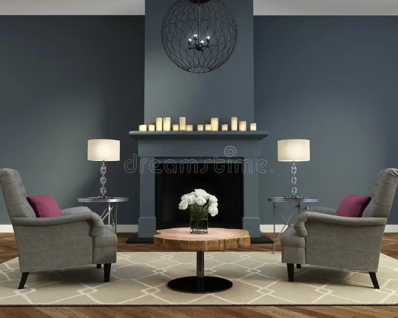 Salon Contemporain De Luxe lgant Avec La Chemine Photo stock  Image du guirlande chemine