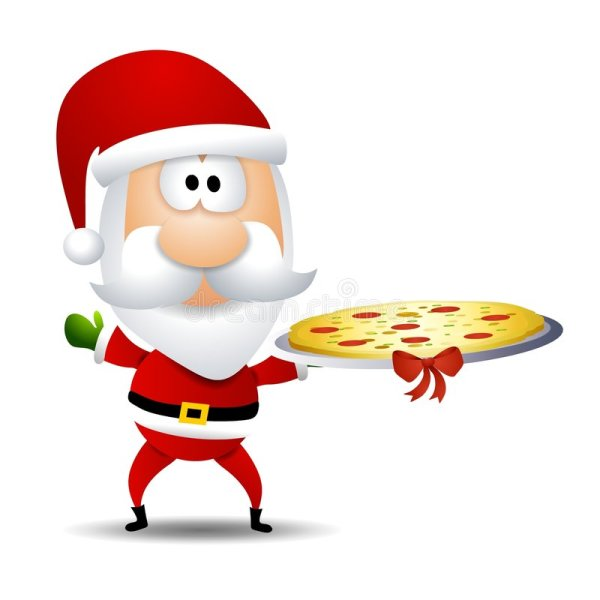 Santa Claus Eating Pizza Clip Art