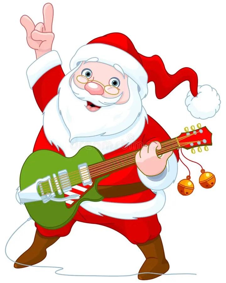 Santa Claus Plays Guitar Stock Vector Illustration Of