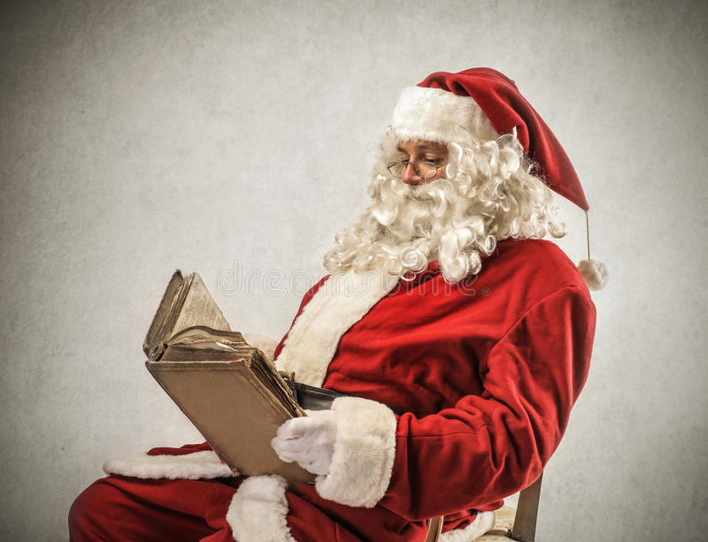 Santa Klaus Reading A Book Stock Image Image Of Poster