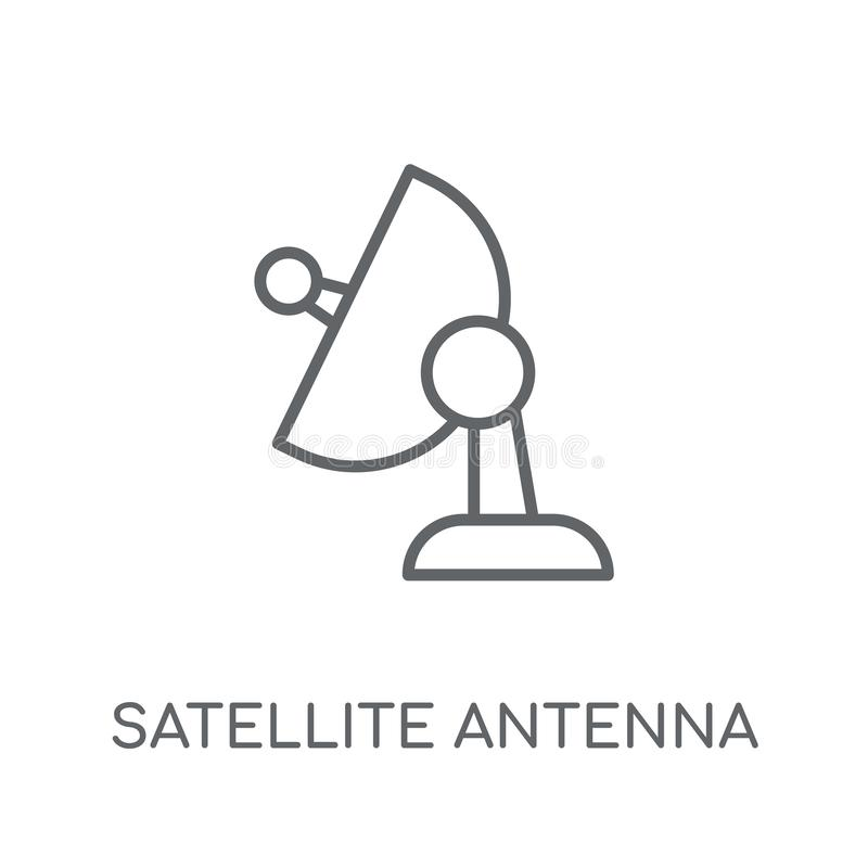 Satellite Dish with cable stock illustration. Illustration