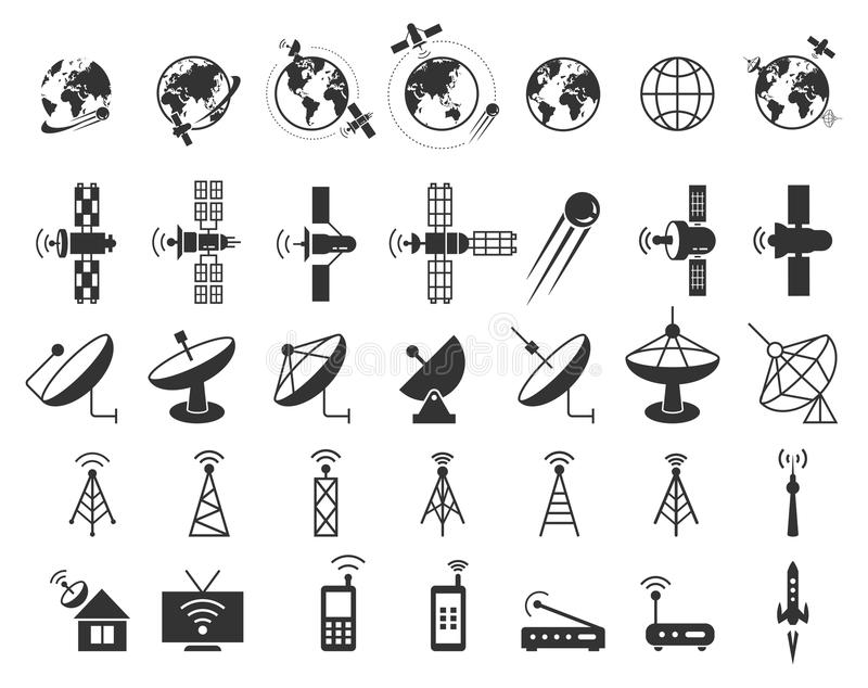Satellite icons vector stock vector. Illustration of