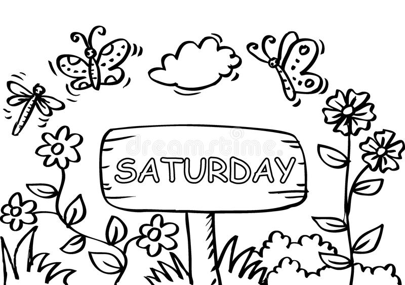 Saturday Coloring Page With Butterfly Stock Vector