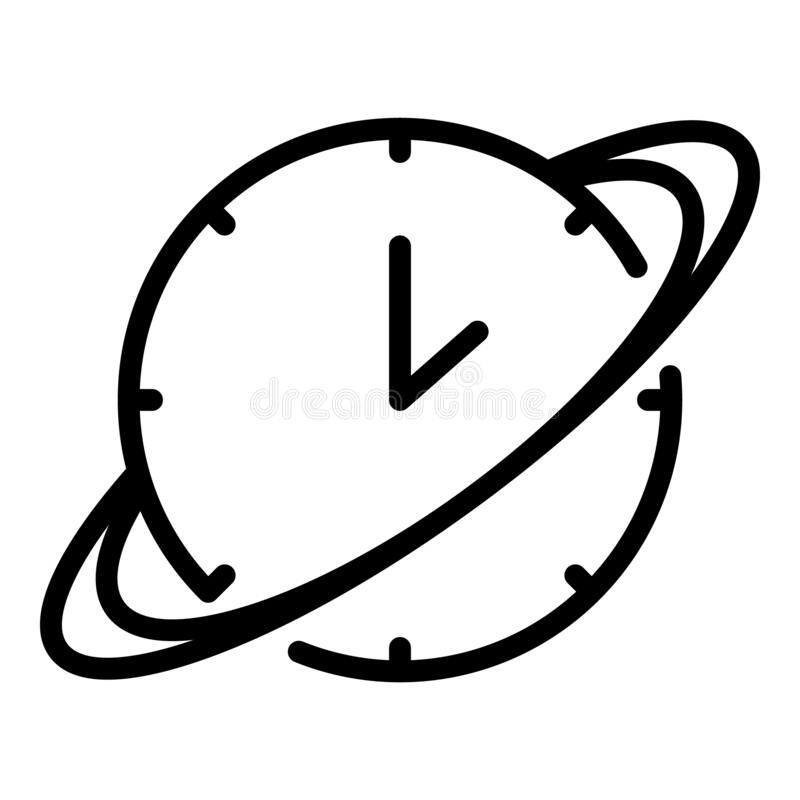Saturn icon, outline style stock vector. Illustration of