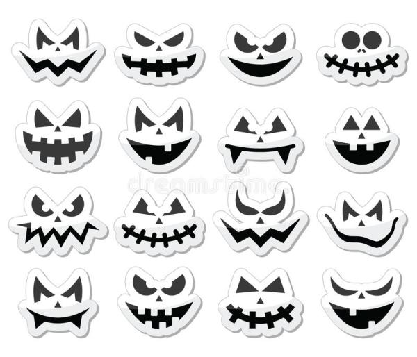scary halloween pumpkin faces icons