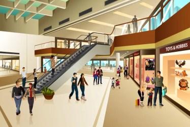 mall shopping scene inside vector illustration