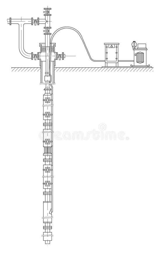 Schematic of an oil well stock illustration. Illustration