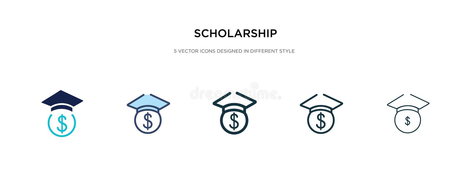 Scholarship Outline Icon. Isolated Line Vector