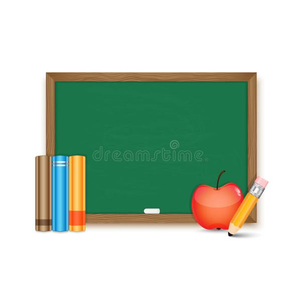 School Board And Books Pencil Apple Stock Vector