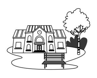 School Building School Clipart Black And White