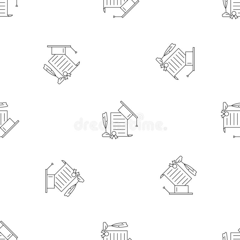 School Diploma Icon, Outline Style Stock Illustration