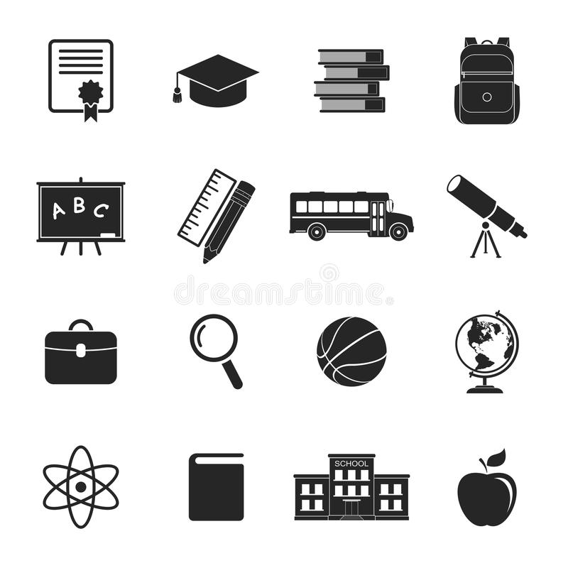 School Icons. Education Collection. College Training