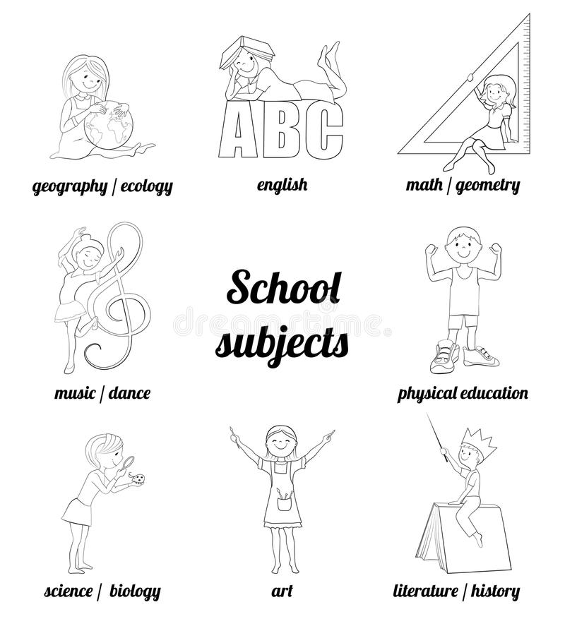 School Subjects Vector Cartoon Illustration Stock Vector