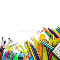 School Supplies On White Background Stock Image - Image of ...