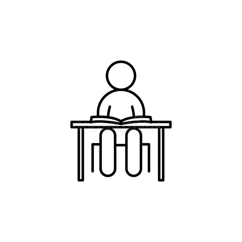 Desk Line Icon. Office Desk Vector Illustration Isolated