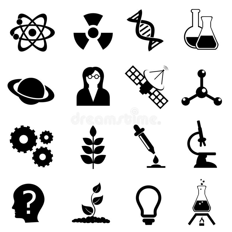Science, Biology, Physics And Chemistry Icon Set Stock