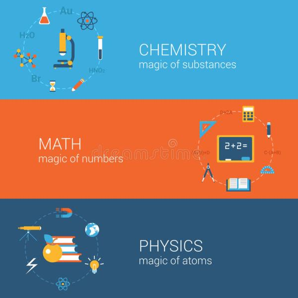 Science Education Concept Flat Icons Banners Template Set