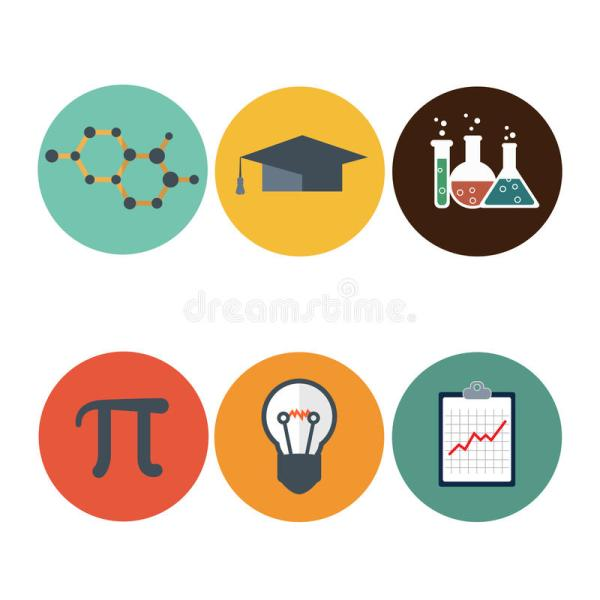 Science Flat Icons Set. Dna Atom Microscope Mathematic