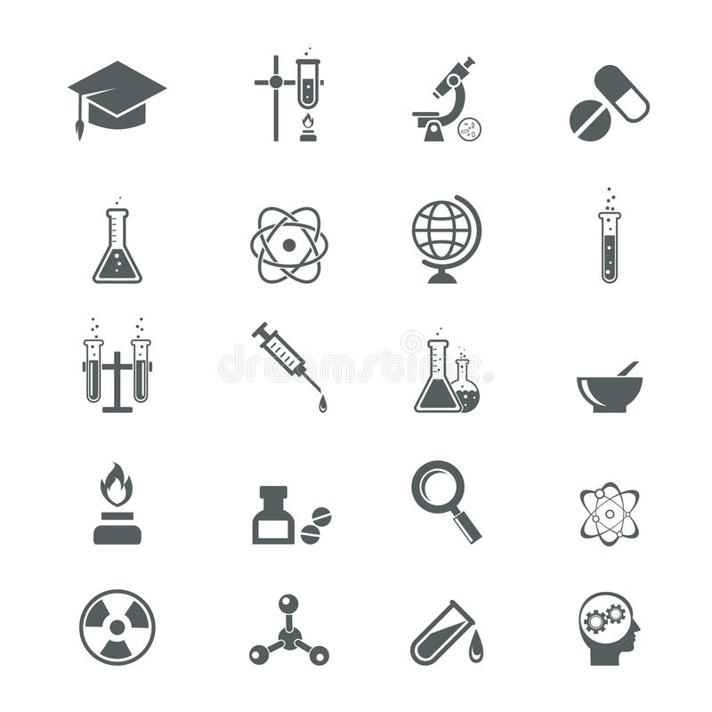 Biology science icons stock vector. Illustration of dish