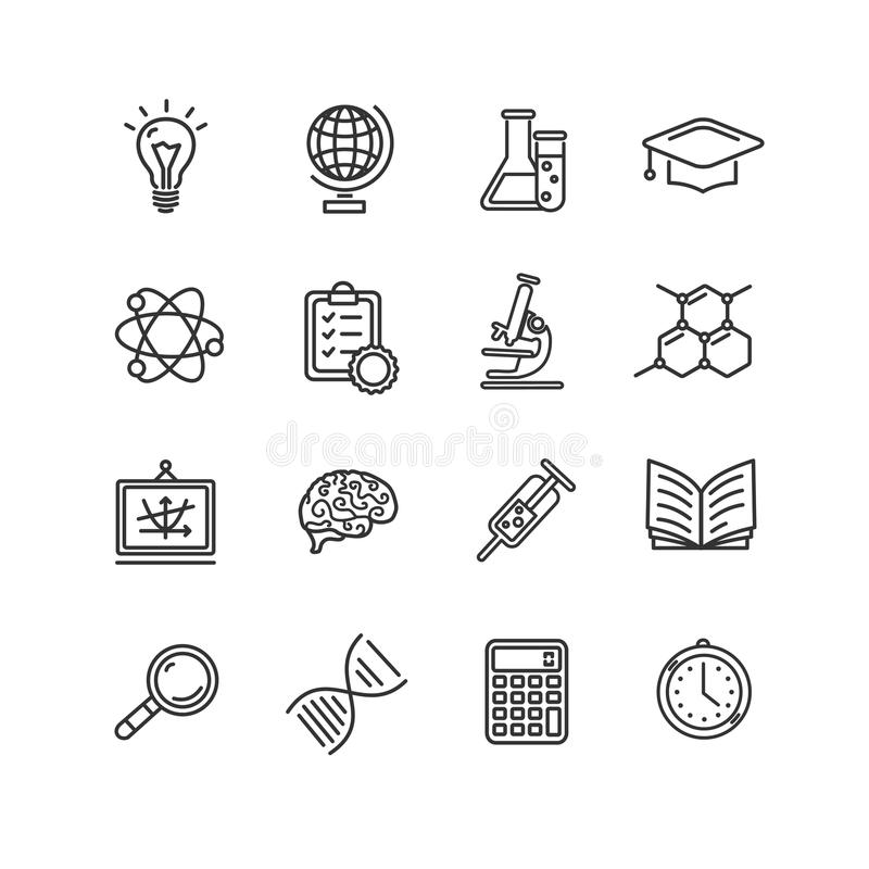 Science Outline Black Icons Set. Vector Stock Vector