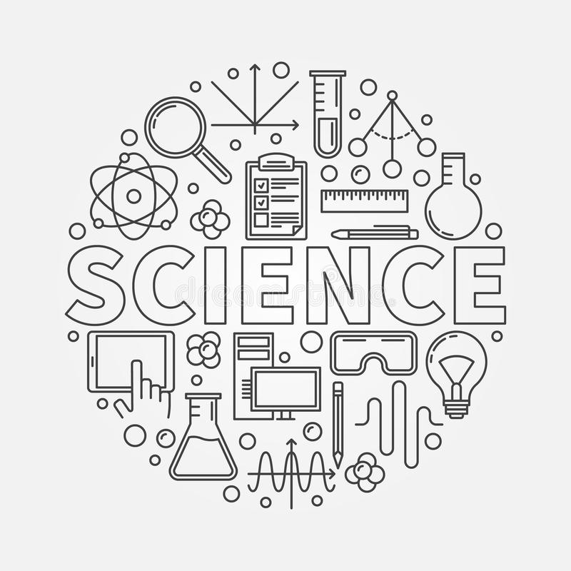 Science round illustration stock vector. Image of