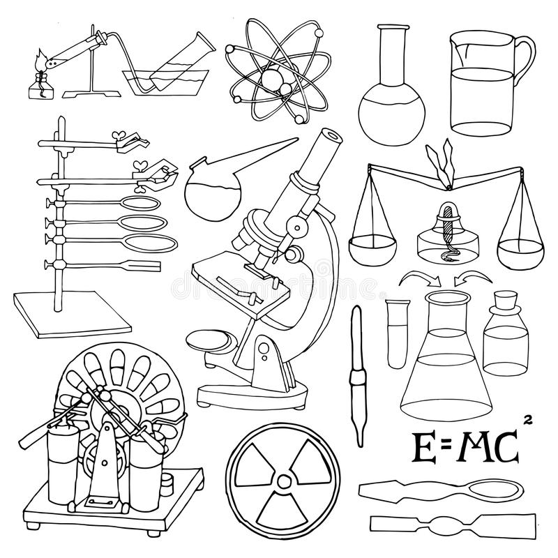 Science sketch icons stock vector. Illustration of science
