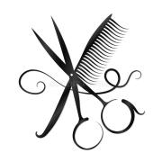 scissors comb and hair silhouette