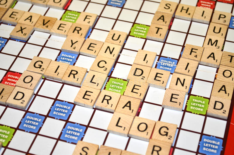 scrabble game stock images