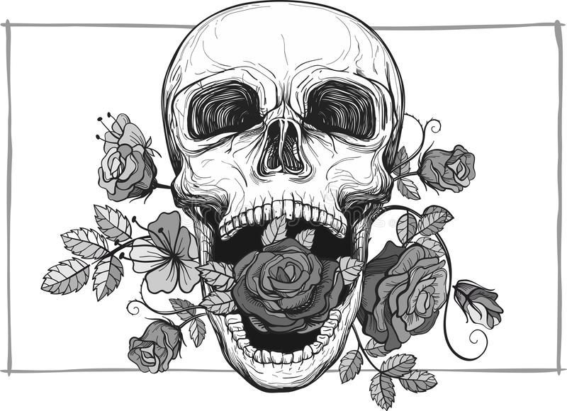 Screaming skull with roses stock vector. Illustration of