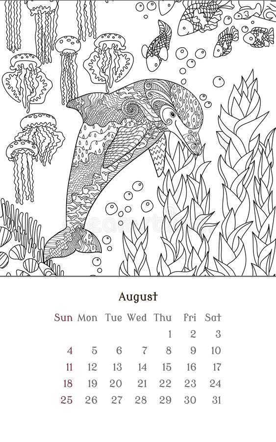 August Coloring Pages For Kids Stock Illustration