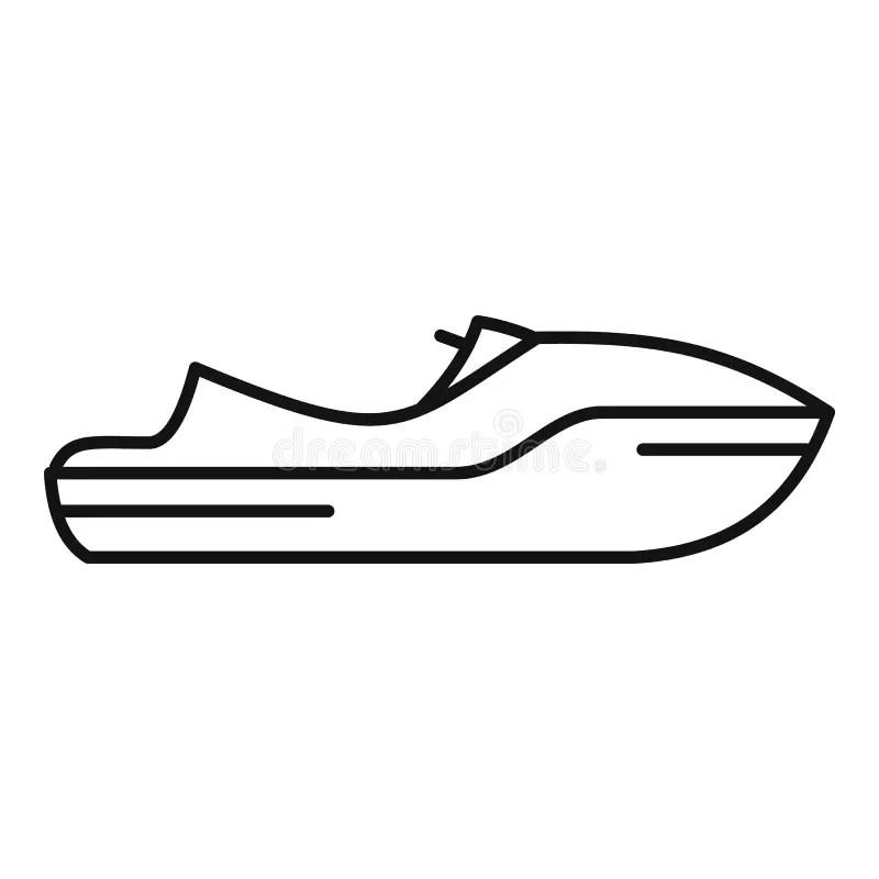 Sea Jet Ski Icon, Outline Style Stock Vector