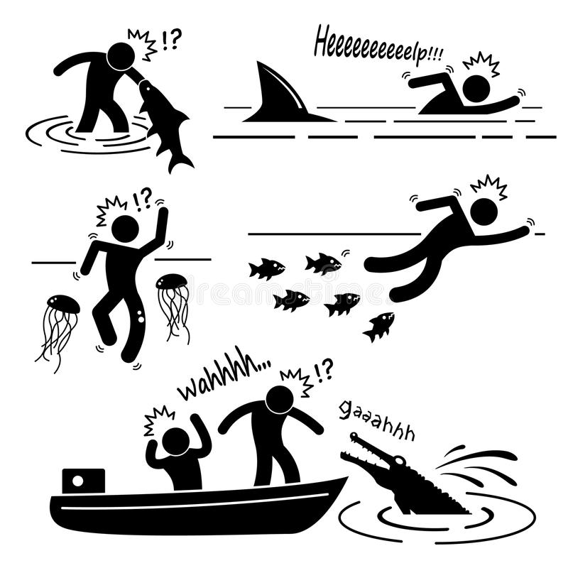 Sea River Fish Animal Attacking Human Pictogram Ic Royalty