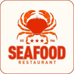seafood restaurant emblem vector market silhouette crab crabs crayfish lettering ribbon